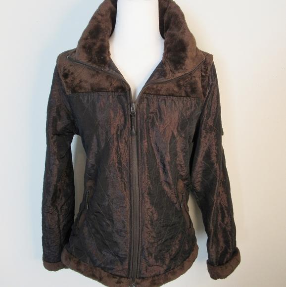 Athleta Brown Quilted Jacket w/Faux Fur Trim Sz M